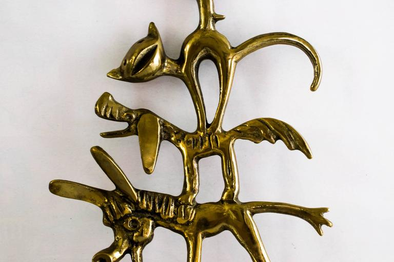 Mid-Century Modern Walter Bosse Brass Key Hanger Donkey, Dog, Cat and Cock, Hertha Baller, Austria For Sale