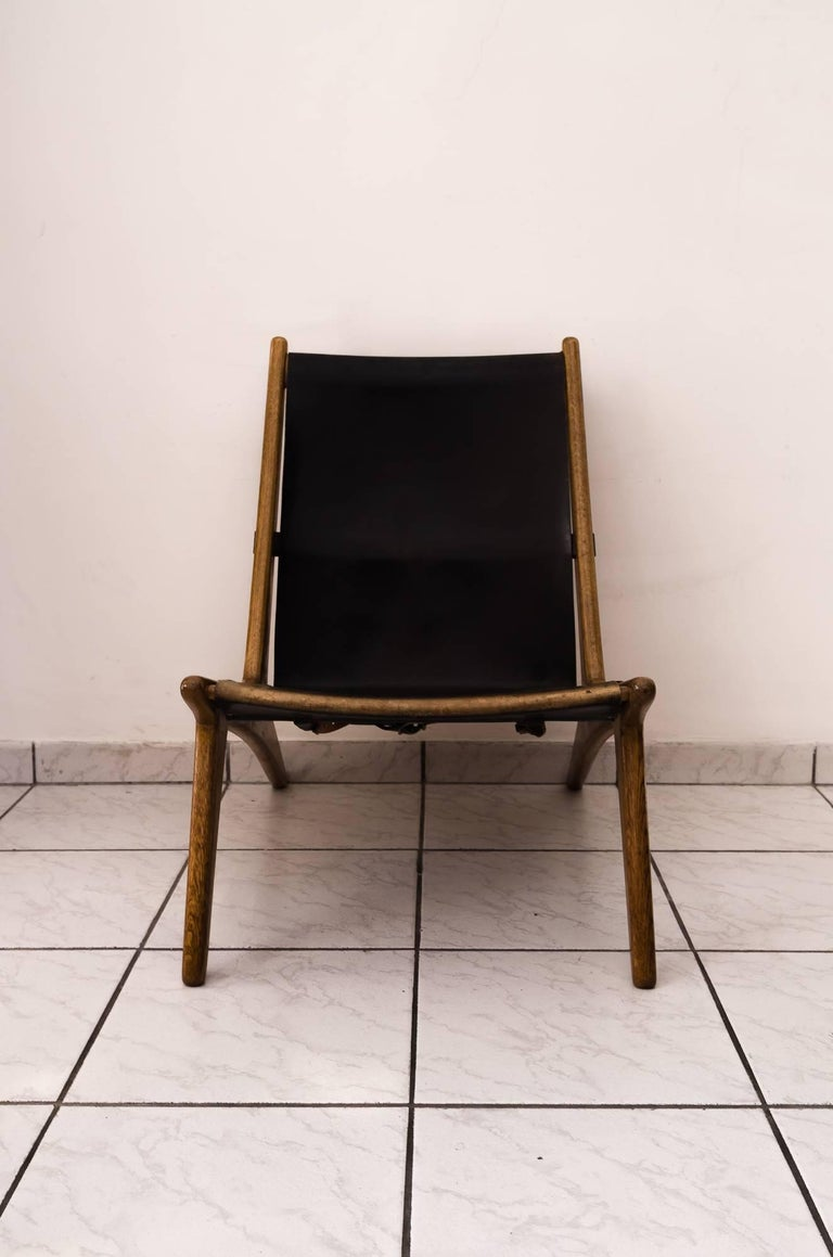 Hunting chair by Uno & Östen Kristiansson Original condition trace of use on the leather.