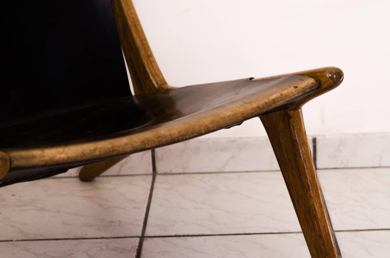 Leather Hunting Chair by Uno & Östen Kristiansson For Sale