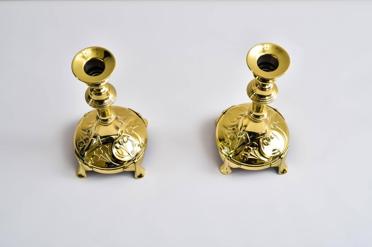 Austrian Two Candleholders, around 1907 For Sale