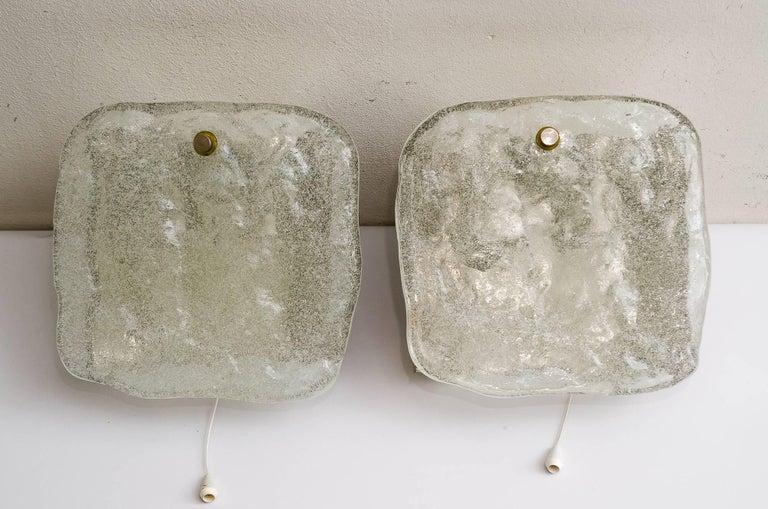 2 Kalmar nickel wall sconces around 1950s ( fosted glass) Original condition