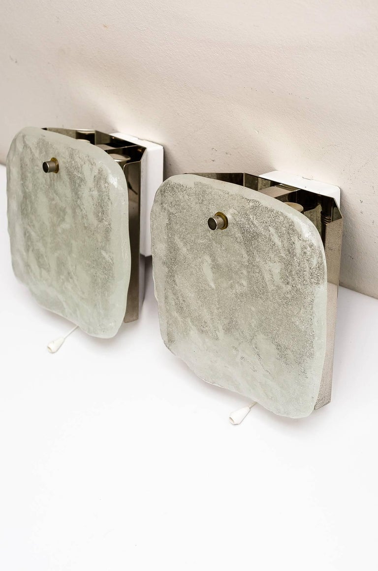 Mid-Century Modern 2 Kalmar nickel wall sconces around 1950s ( fosted glass) For Sale