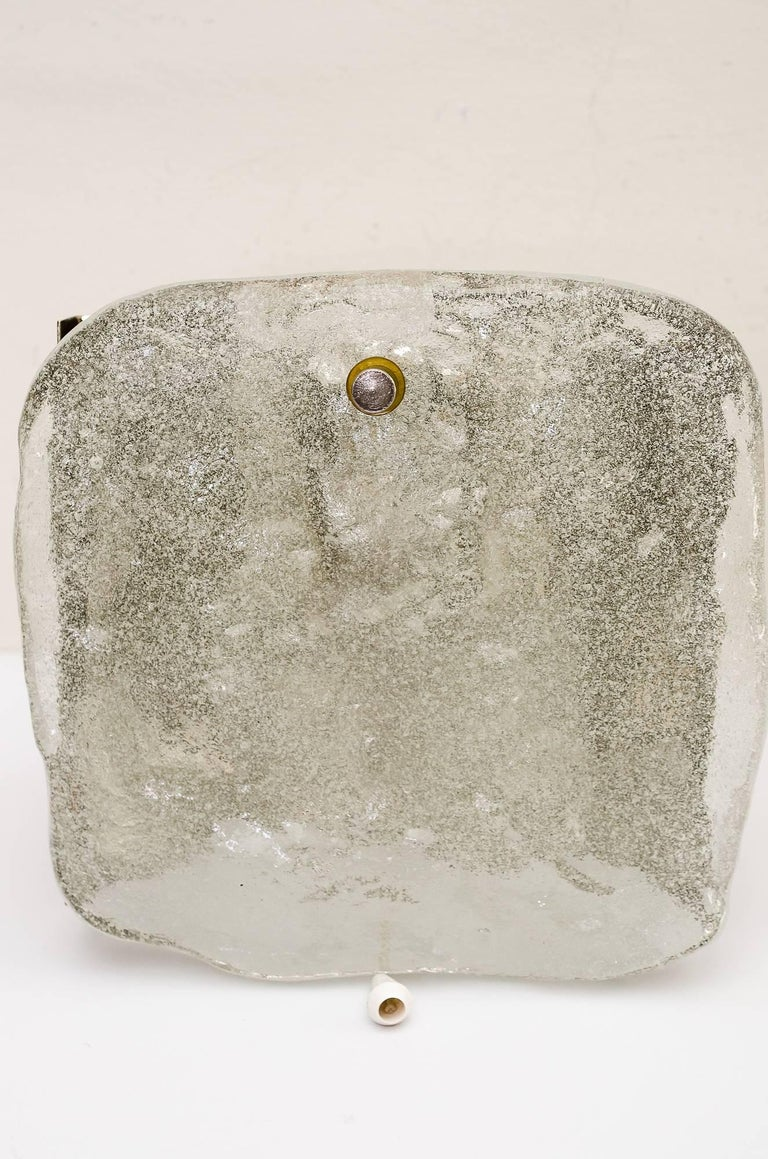 Nickel 2 Kalmar nickel wall sconces around 1950s ( fosted glass) For Sale