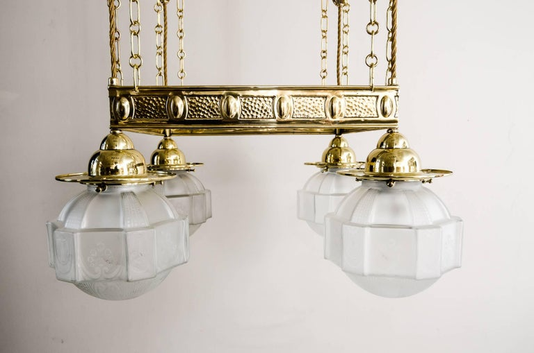 Jugendstil Chandelier with Original Glass Shades, circa 1908 In Excellent Condition For Sale In Wien, AT