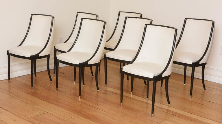 origin set of eight french barrel back dining chairs