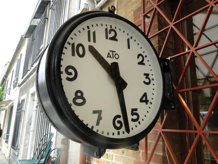 Vintage French Ato Brillie Station Railway Clock Factory