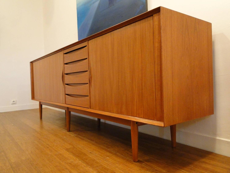 rare long teak arne vodder credenza sideboard danish modern at 1stdibs. Black Bedroom Furniture Sets. Home Design Ideas