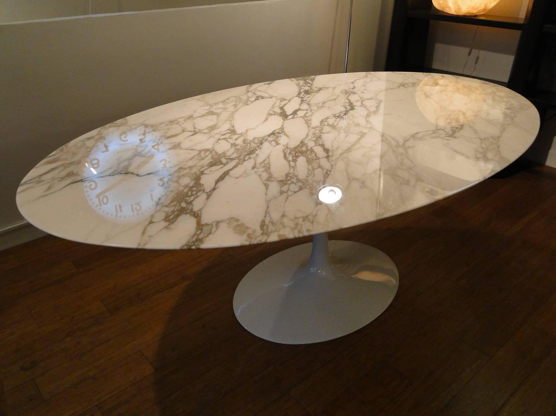 Eero Saarinen Marble Calacatta Top Oval Dining Table For Knoll Image 8