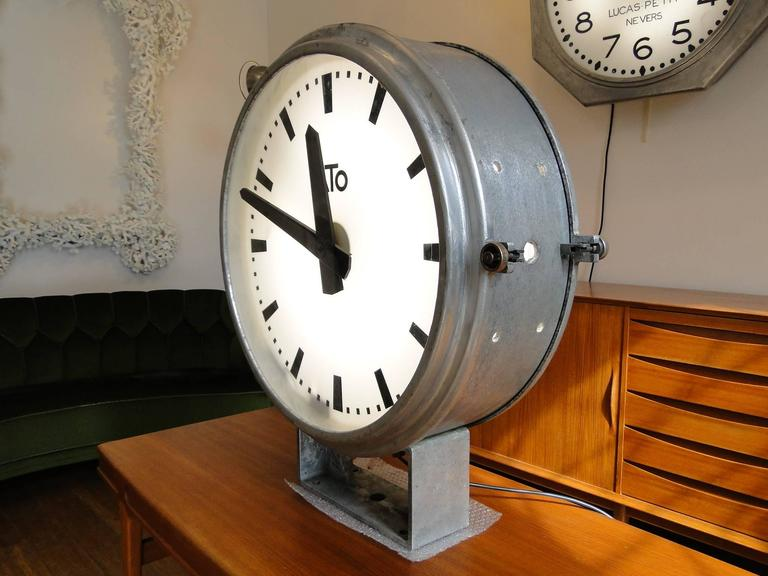 vintage french ato brillie station railway clock factory industrial double side 3