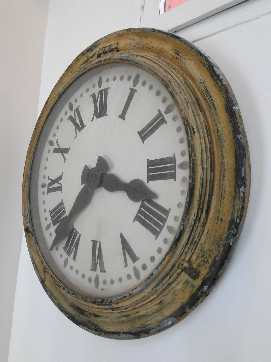 French Brillie Railway Clock Painted Metal 1930s For