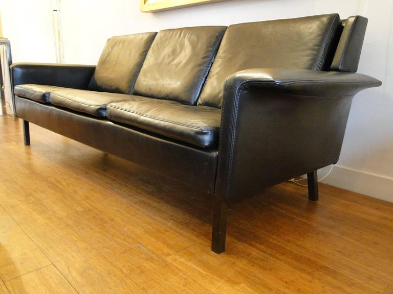 Arne Vodder Black Leather Sofa 3