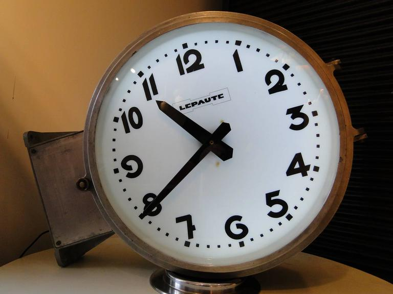 double side vintage french lepaute brillie station railway clock industrial 3