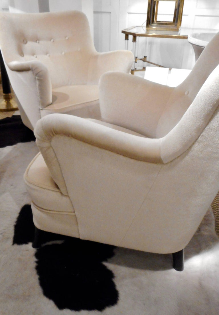 Pair of Fritz Hansen 1940s Easy Chairs, Denmark For Sale 2
