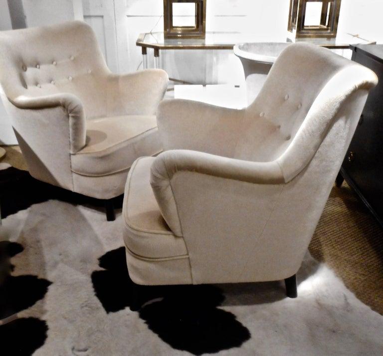 Scandinavian Modern Pair of Fritz Hansen 1940s Easy Chairs, Denmark For Sale