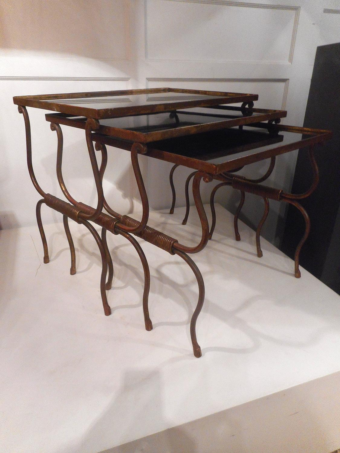 Set of gilt wrought iron nesting tables for sale at stdibs
