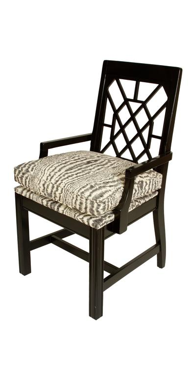 American Modern Pair of Black Painted Fretwork Chairs For Sale
