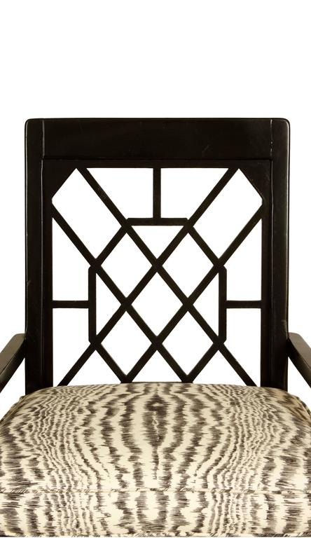 American Pair of Black Painted Fretwork Chairs For Sale