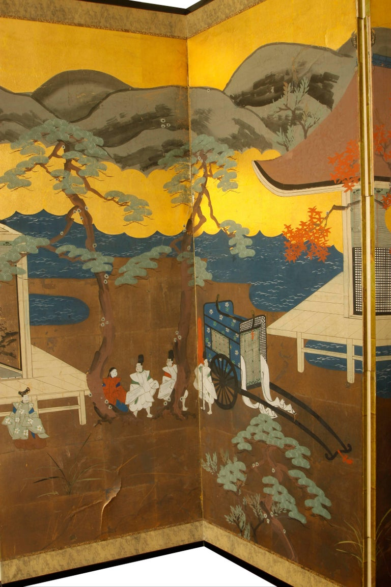 Chinoiserie Vintage Six-Panel Screen, circa 1960 For Sale