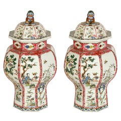Pair of Antique Chinese Famille Rose Octagonal Covered Jars