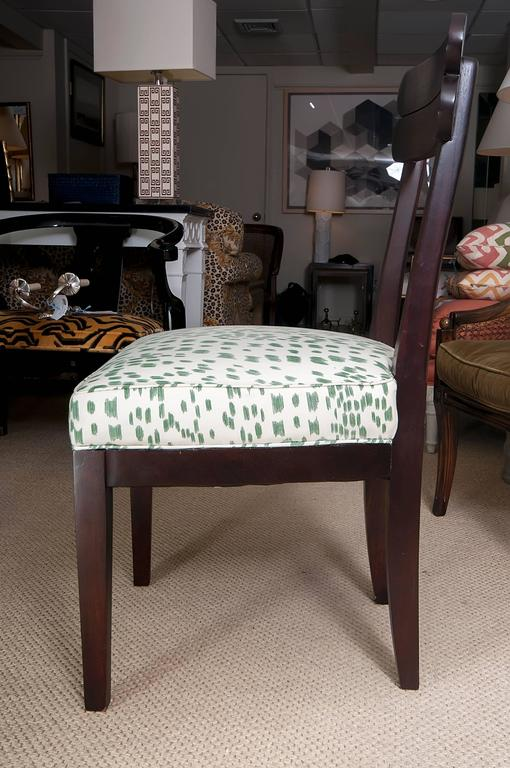 Set Of Four Mahogany Side Chairs Reupholstered In Brunschwig Fils Excellent Condition For