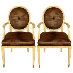 Pair of Faux Bone Inlay Chairs with Brass Feet and Brown Silk Upholstery