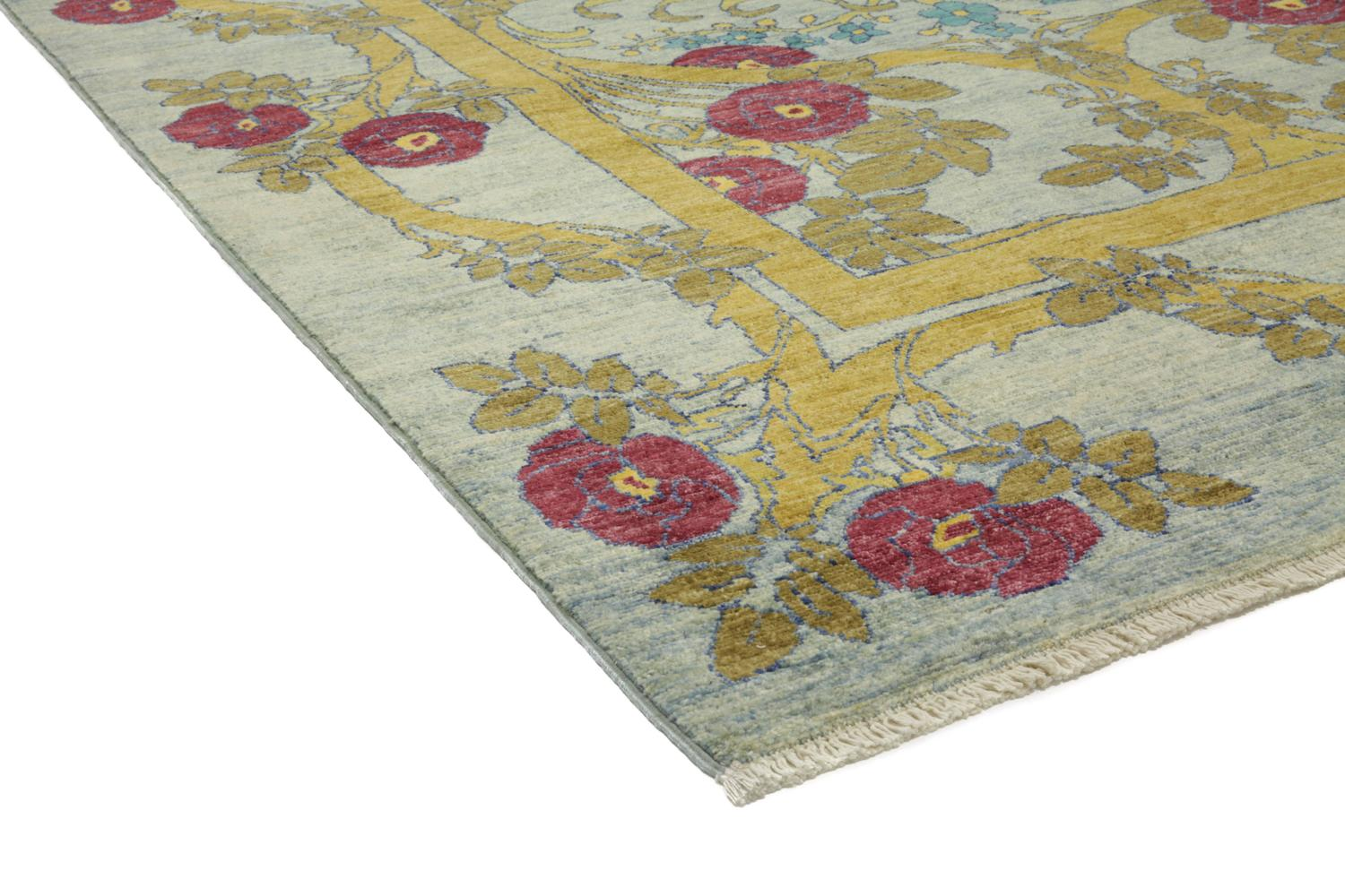 hand knotted rug in the style of an arts and crafts design. Black Bedroom Furniture Sets. Home Design Ideas