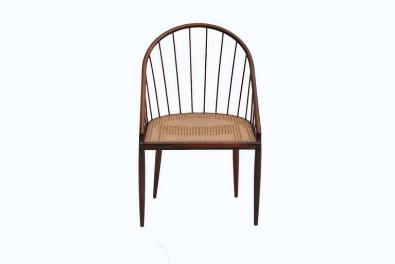 Set of 12 original curved chairs in Jacaranda wood and caned D-shape seating.