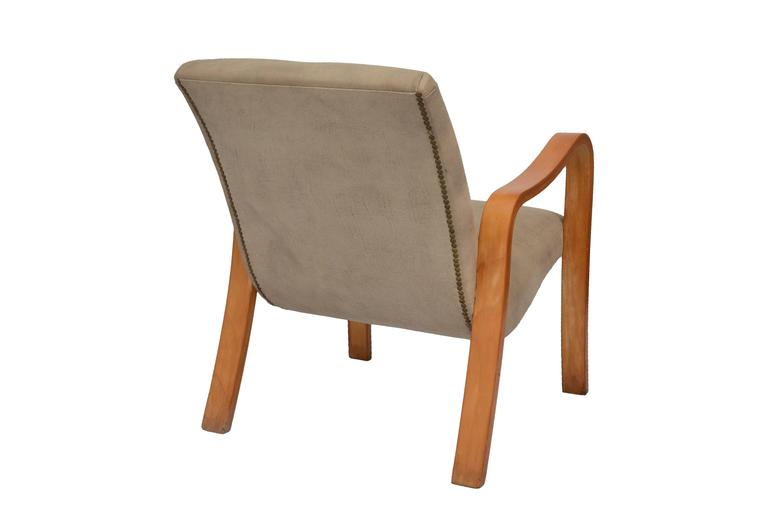 Armchair by Joaquim Tenreiro in Ivory Wood and Leather 2