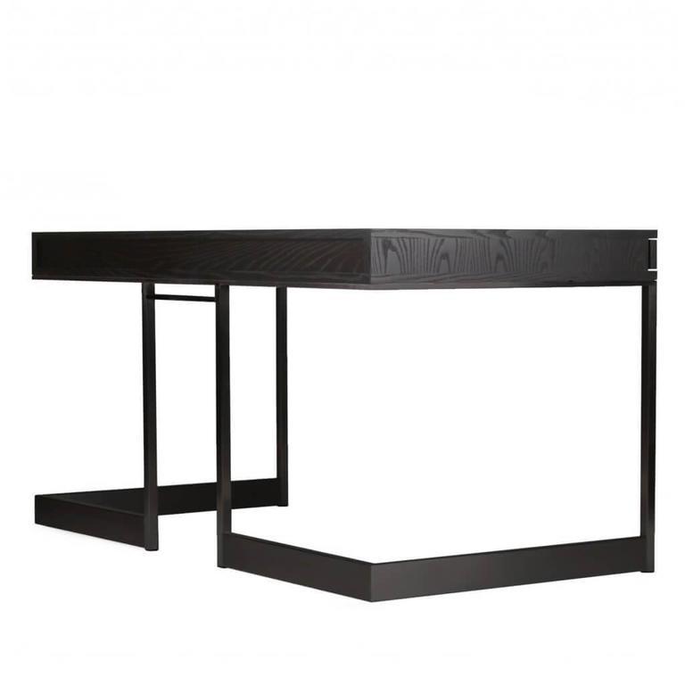 Three-Drawer Desk Ebonized Olive