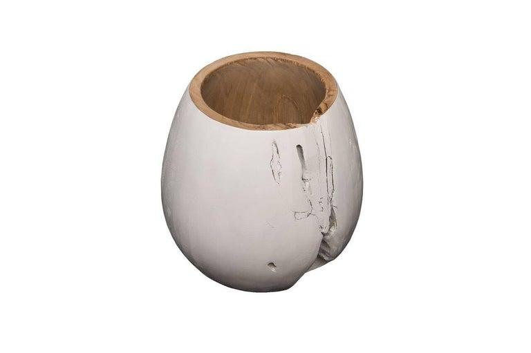 Beautiful white wood ball bowl.