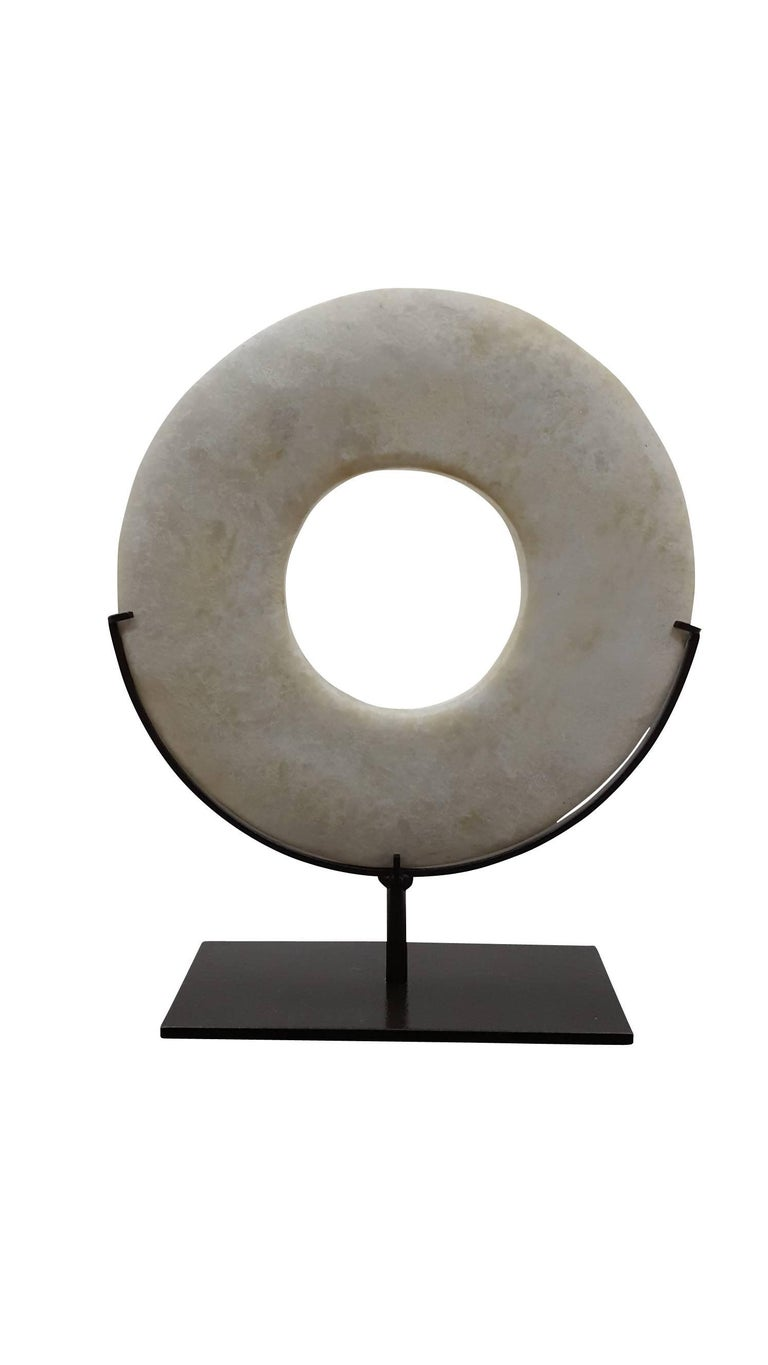 Modern White Marble Disk on Stand, Smooth White For Sale