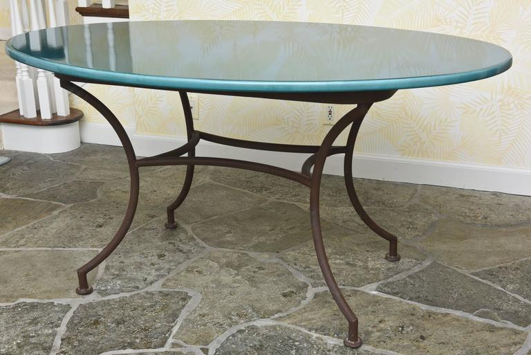 Outdoor Oval Table With Verdigris Lava Stone Top At 1stdibs