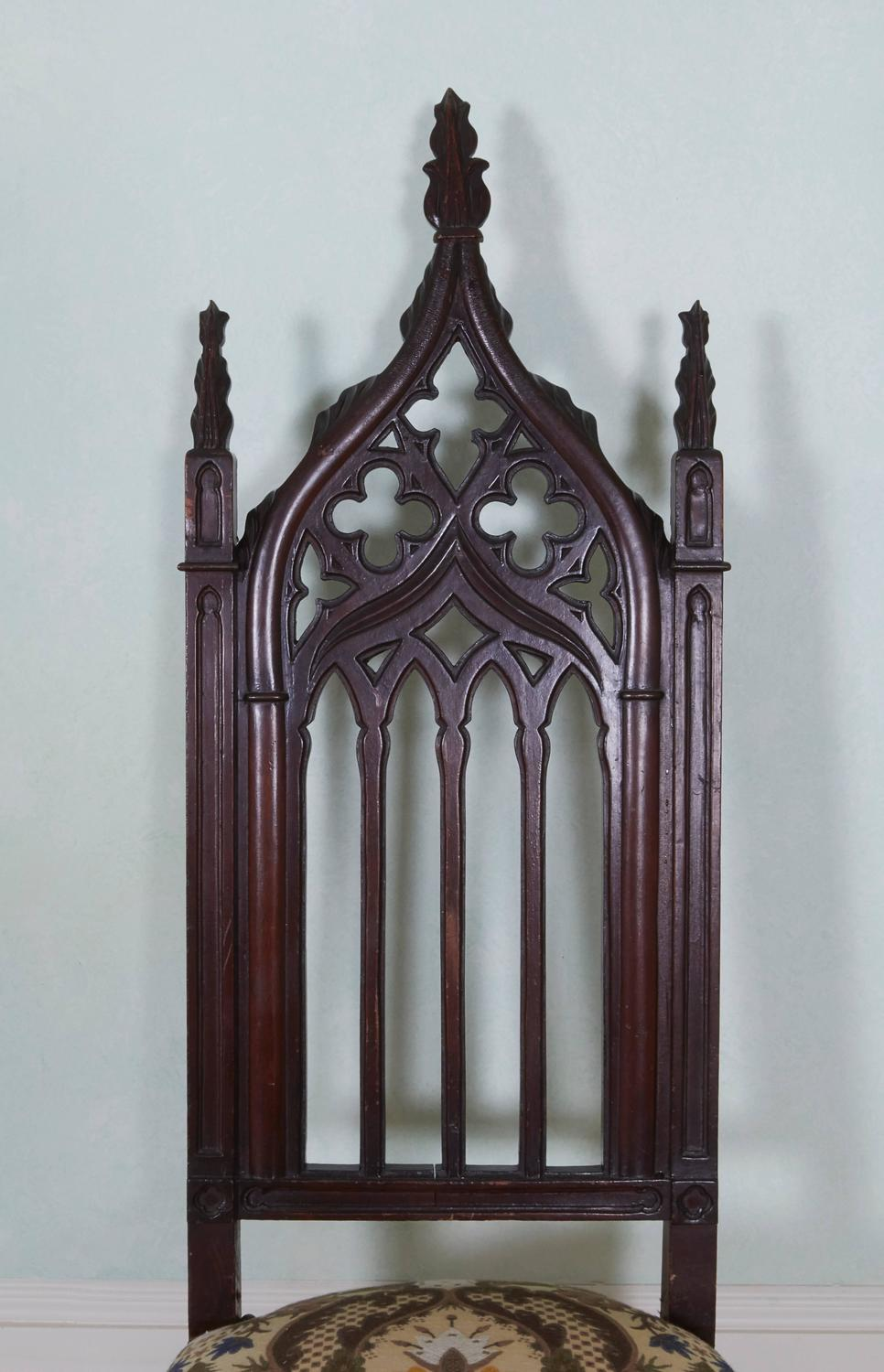 19th Century American Gothic Revival Mahogany Side Chair