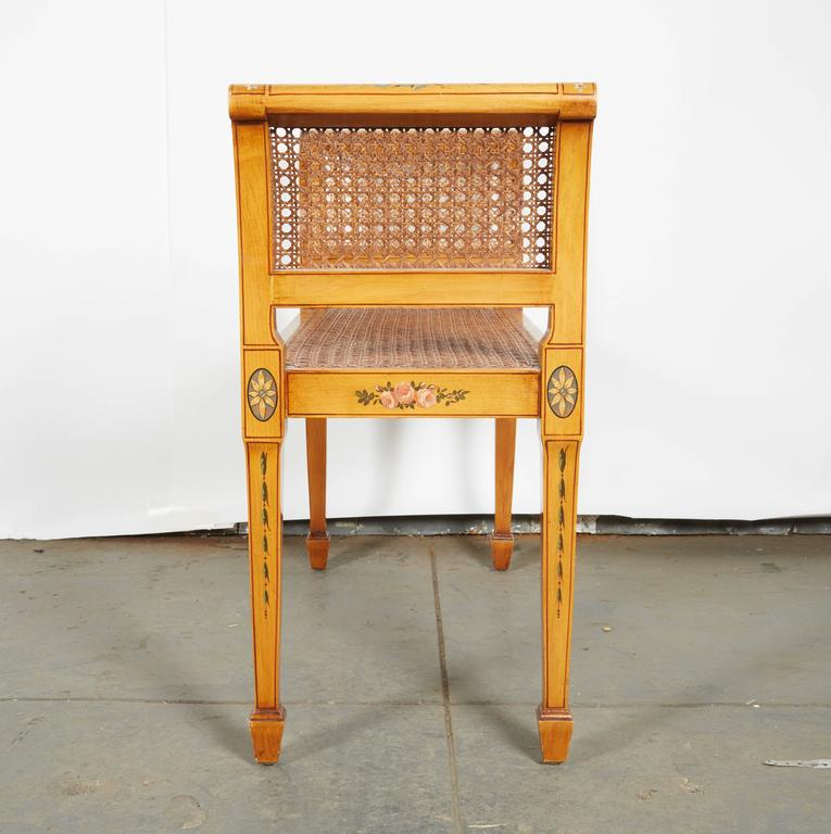 Adam Style Satinwood and Caned Window Seat For Sale at 1stdibs