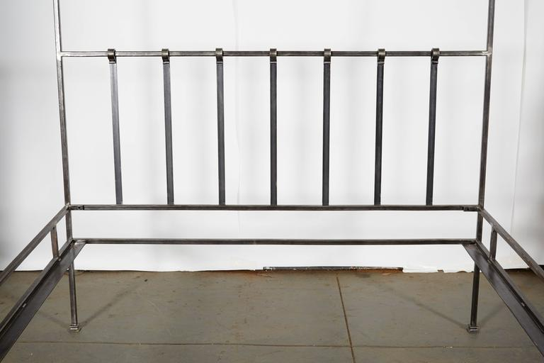 Hand Polished Iron Four Poster Queen Bed Frame For Sale At