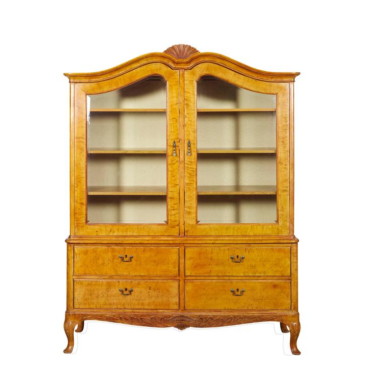 Impressively Scaled Swedish Birch Bookcase or Armoire