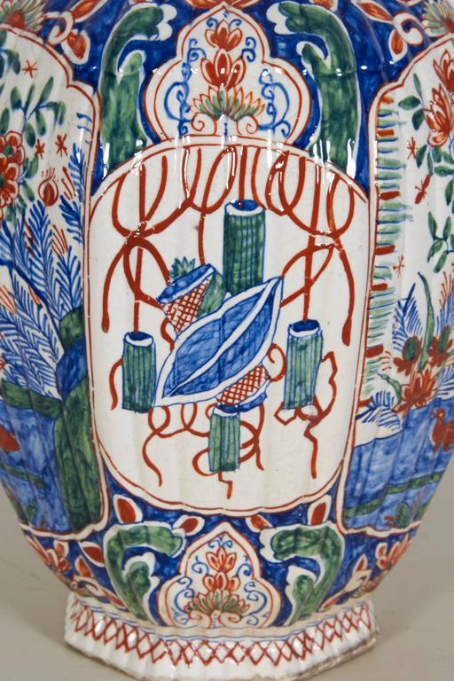 Dutch 18th Century Delft Polychrome Covered Vase For Sale