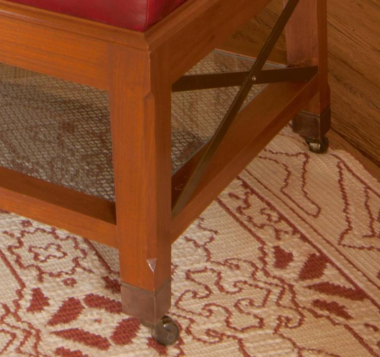 David Easton Walnut And Red Leather Ottoman Coffee Table For Sale At 1stdibs