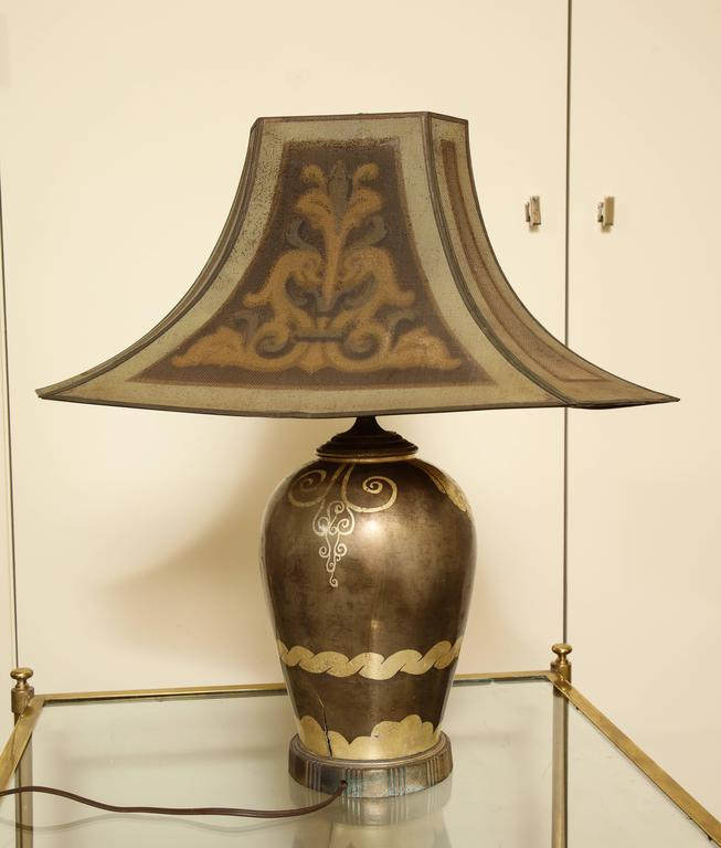 Metal French Art Deco Dinanderie Table Lamp For Sale