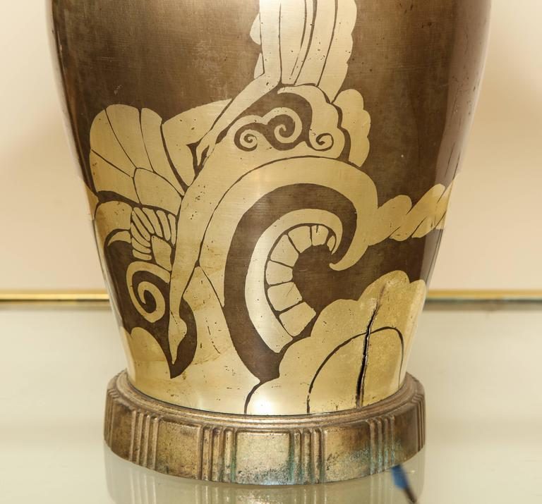 Early 20th Century French Art Deco Dinanderie Table Lamp For Sale