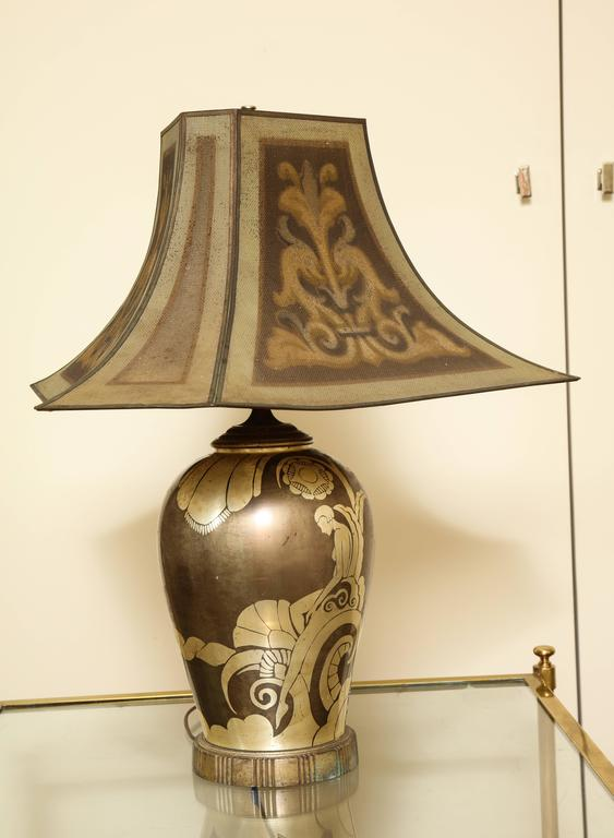 French Art Deco Dinanderie Table Lamp For Sale 2