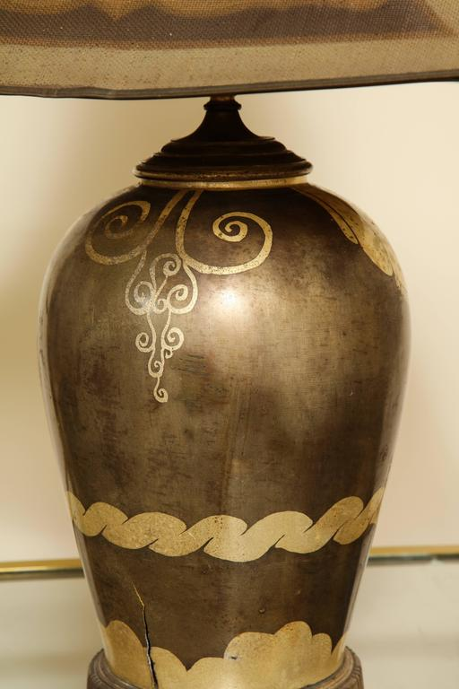 French Art Deco Dinanderie Table Lamp For Sale 3