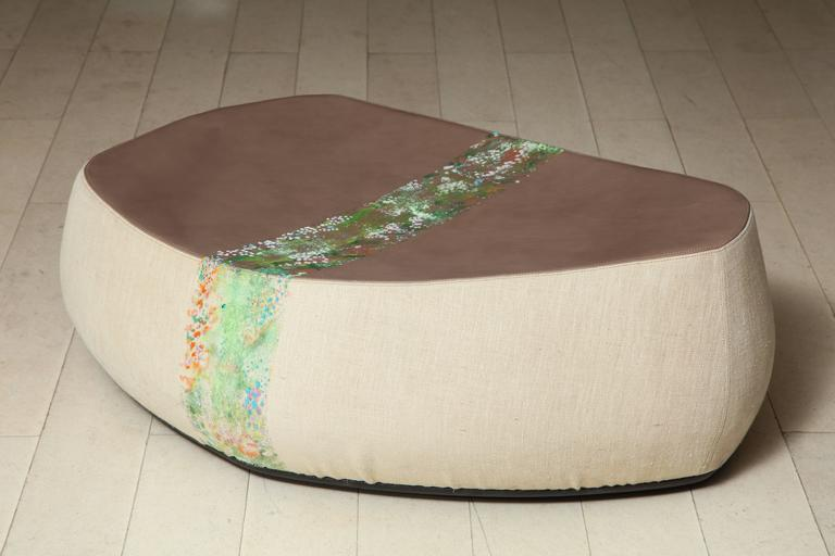 """With """"Vertical Garden"""" textile hand applications by Nuala Goodman (Ireland, 1962–), made of brown leather and burlap, textile painting, signed, dated and numbered: Nuala Goodman 2010 49. Three more stool also available.  Made for the exhibition"""
