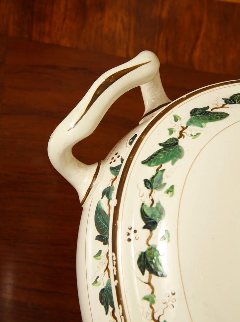 19th Century Wedgwood Creamware Covered Tureen with Ivy Decoration For Sale