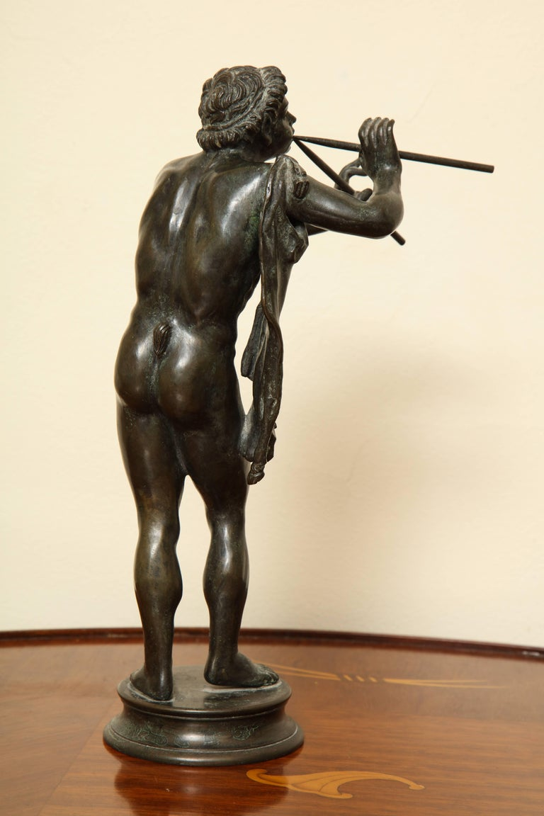 Italian Midcentury Bronze of Pan Playing the Pipes For Sale