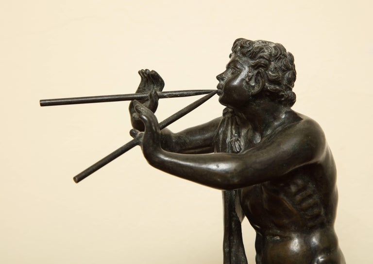 Midcentury Bronze of Pan Playing the Pipes For Sale 1