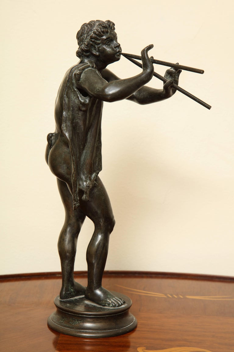 Classical Roman Midcentury Bronze of Pan Playing the Pipes For Sale