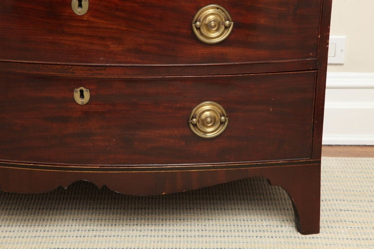 Hepplewhite New England Federal Mahogany Bow Front Chest of Drawers For Sale