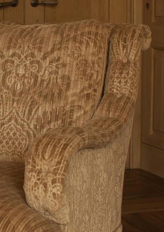 American David Easton Gaufrage Velvet Club Chair For Sale