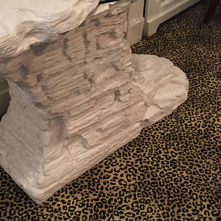 Glass Rare Faux Rock Plaster Console Table For Sale
